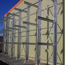Single sided cantilever rack in galvanized finish