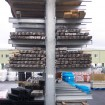 End view of double sided cantilever racking system
